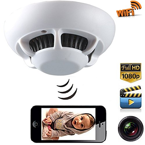 DareTang P2P Smoke Detector Wifi Pinhole Hidden Wireless IP Camera DVR Digital Video Recorder Cam, 1080p