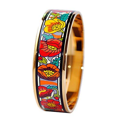 real-enamel-bangle-bracelet-width-20mm-18k-gold-plated-monas-poppy-flower-63-millimeters