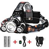 Super Bright 3 Beams 4 Modes Waterproof LED Headlamp with 2 Rechargeable 18650 Batteries