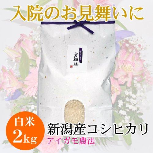 【入院のお見舞い】完全無農薬 新潟産コシヒカリ 2キロ 【平成25年産】