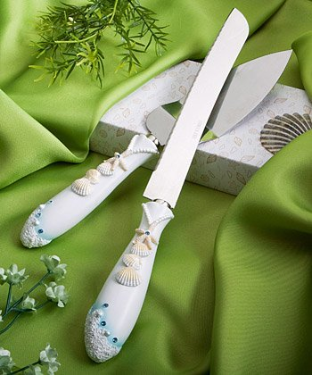 Beach Theme Wedding Knife & Cake Server Set, 1