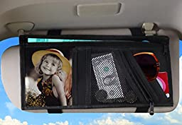 Zone Tech 5 Pocket Car Visor Organizer Premium Quality Rugged Pack Cloth Clear Mesh and Zippered Pockets Great for-ID, Pictures, license, passport, Maps, Spare Change, Sunglasses, Notepad, Membership Cards and more!