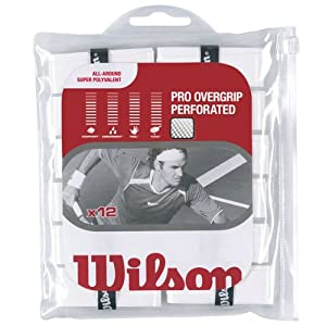 Buy Wilson Sporting Goods Pro Perforated Tennis Racket Grip (Pack of 12), White by Wilson