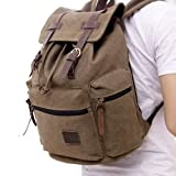 Everdoss Mens Womens Ladies Girls Boys Vintage Casual Daypack Fashion Pack Canvas Leather Travel Camping Hiking Backpacks Campus School College Bookbag Rucksack Gym Shoulder Bag Portable Carry Case Bag Schoolbag for Sony Canon Nikon Olympus DSLR Ipad Goo