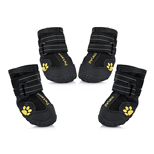 Uarter 4 Piece Waterproof Pet Boots for Large Dogs Labrador Husky Shoes, Size 7, Black (Pet Supplies For Large Dogs compare prices)