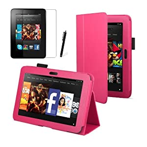 """Hot Pink Luxury Multi Function Standby Case for the New Kindle Fire HD 7"""" Tablet 16GB or 32GB with Built-in Magnet for Sleep / Wake Feature + Screen Protector + Capacitive Stylus Pen by MOFRED®"""