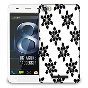 Snoogg Black Flower Designer Protective Phone Back Case Cover For LAVA IRIS X8