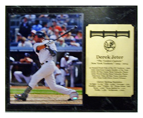 New York Yankees Derek Jeter Career Plaque With Action 8X10 Picture Photograph And An Engraved Nameplate With Career Statistics front-296493