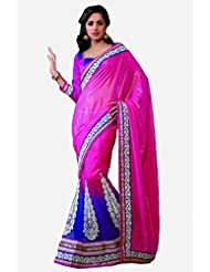 Sareez Purple & Pink Color Chiffon Butti & Net Saree.