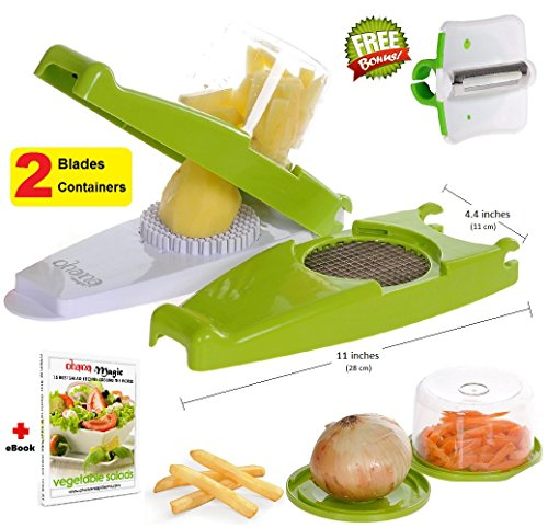 French Fry Cutter Onion Chopper Vegetable Slicer Nicer Dicer, 2 Storage Containers + FREE Peeler - by Ohana Magic (Fry Onion compare prices)