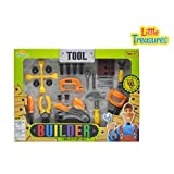 Little Treasures Builder 22pc Mechanic Tools Play Set With Pretend Play Working Function Hand Tools Including...