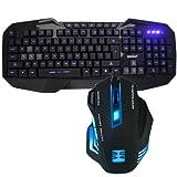 AGPtek® 3-level Blue LED Illuminated Ergonomic Backlit USB Wired Gaming Keyboard + 7 Color LED Illuminated Backlit USB PC Gaming Mouse