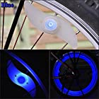 E-PRANCE® 2 PCS Double Faced Bicycle Spoke Light Wind Fire Wheels Silica Gel Spoke Light Steel Wire Lamp Mountain Bike Wheel Light Color Blue