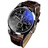 ZooooM ブルー 青 文字盤 腕時計 メンズ 男性 クロノグラフ レザー 革 クロコ 型押し ベルト カジュアル ビジネス フォーマル ( ブラウン ) ZM-AOCLO-BR