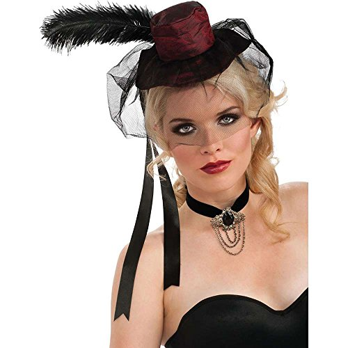 Rubie's Costume Womens Mini Red Saloon Girl Hat, Red/Black, One Size - 1