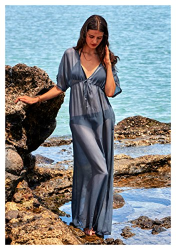 d33d8a3977253 MG Collection Long Sheer Swimsuit Coverup, Summer Beach Dress, Gray
