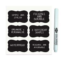 Labelholics 36 Chalkboard Labels, 3.5-Inch x 2-Inch Bundle with Chalk Pen