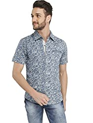 Ripfly Men's Casual Shirt (RF 709_Blue_Large)