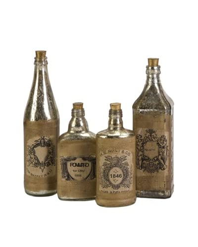 Set of 4 Vintage Bottles with Labels