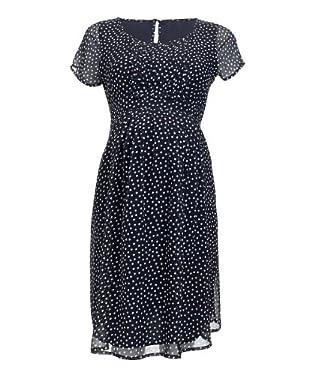 Maternity Navy Polka Dot Tea Dress