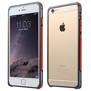 Crazy4Gadget Baseus Rigid Soft Pro Frame Series Color Matching Style Shockproof Metal Bumper Frame Case for iPhone 6 Plus & 6S Plus (Grey + Red)