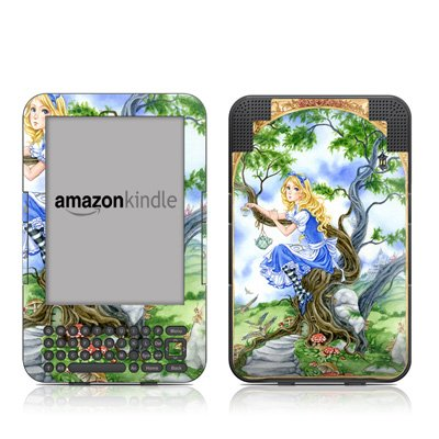 Alice'S Tea Time Design Protective Decal Skin Sticker For Amazon Kindle Keyboard / Keyboard 3G (3Rd Gen) E-Book Reader - High Gloss Coating