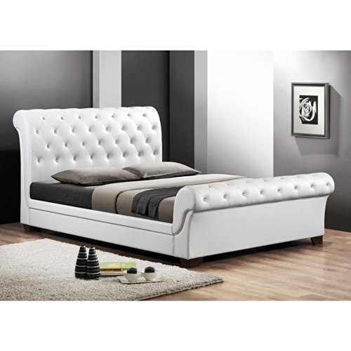 Simple Baxton Studio CF QUEEN WHITE Leighlin Button Tufted Modern Sleigh Bed with Upholstered Headboard Queen White