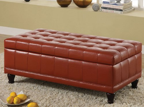 Storage Bench Ottoman with Tufted Accents in Red Leather Like