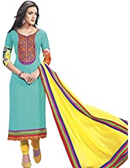 Exotic India Blue-Turquoise Long Choodidaar Suit With Ari Embroidere - Turquoise