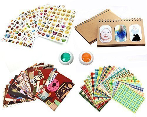 Mini Instant Film Camera Accessory Bundle Set (Photo Album, Film Border Stickers, Emoji Stickers, Color Lens)