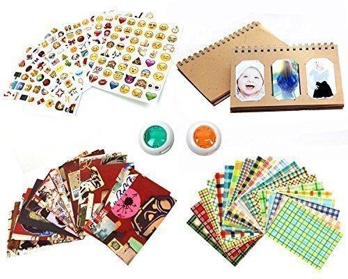 Mini Instant Film Camera Accessory Bundle Set (Photo Album, Film Border Stickers, Emoji Stickers, Color Lens)