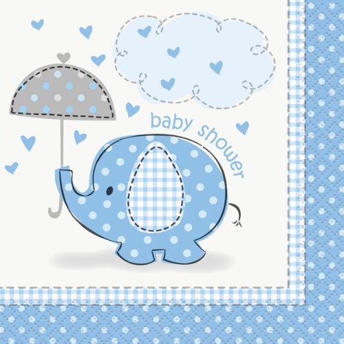 Blue Elephant Baby Shower Beverage Napkins - 1