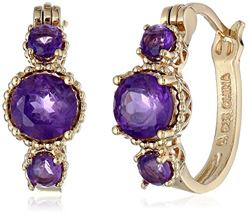 "18k Gold-Plated Sterling Silver African Amethyst Hoop Earrings (0.7"" )"