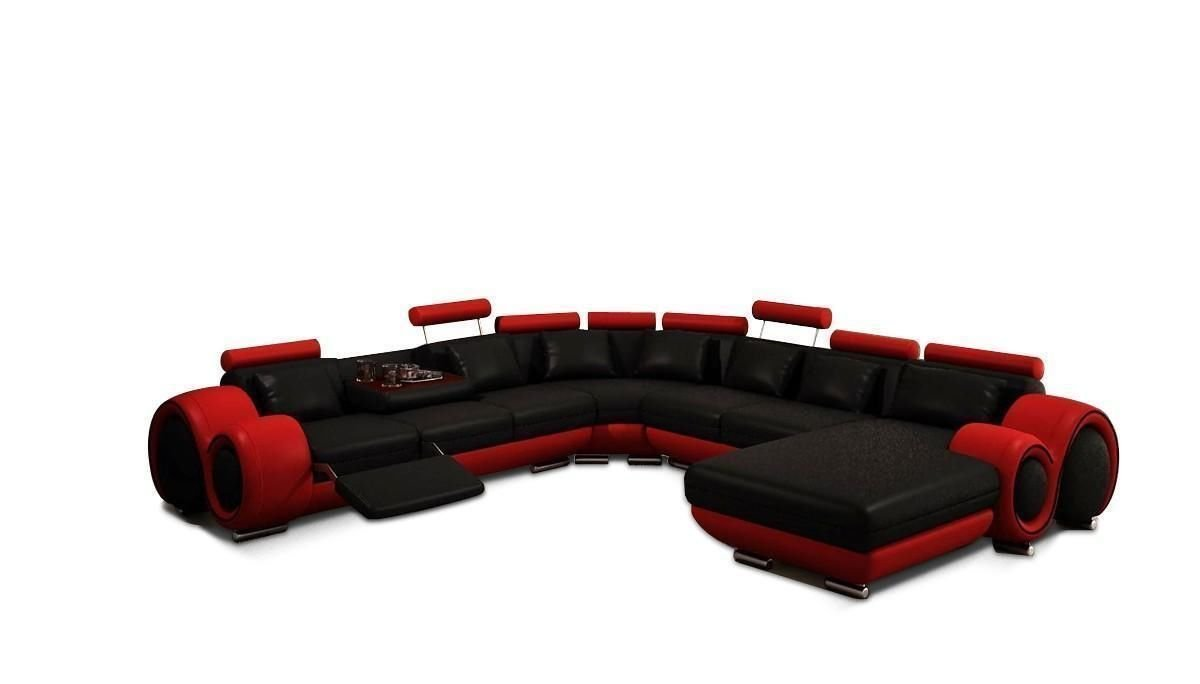 VIG Furniture Modern Black and Red Bonded Leather Sectional Sofa