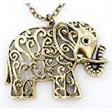 T&J Jewelry Pretty Retro Gold-tone Cute HOLLOW Baby Elephant NECKLACE