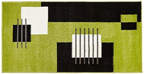 Moderner Velours Designer Teppich 70 x 140 cm Karo in Grün Schwarz Weiss