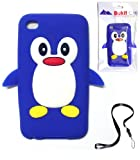 Apple IPOD TOUCH 4 4G 4TH GENERATION (ITOUCH 4 8GB 16GB 32GB) Blue Penguin Silicone Silicon Case Cover + Free WirelessGeeks247 Detachable Neck Strap / Lanyard
