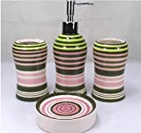 Colorful Loops 4 Piece Bath Ensemble, Ceramic Bathroom Accessory Set with Soap Dish, Lotion Dispenser, Toothbrush Holder & Tumbler (Green Pink)