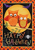 Polka Dot Happy Halloween Owl Spider Harvest Moon House Flag 28 x 40 Picture