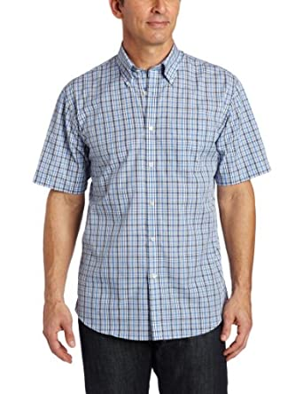 Van heusen men 39 s cvc wrinkle free small plaid shirt blue for Wrinkle free dress shirts amazon