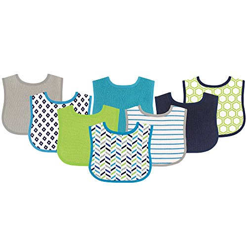 Luvable Friends 8 Piece Drooler Baby Bibs, Blue and Lime (Bibs Pack compare prices)
