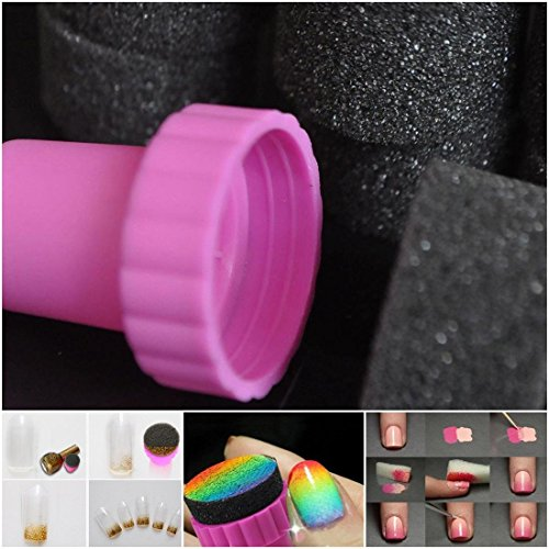 10pcs-Fascinating-Nail-Polish-Sponge-Gradient-Stencil-Art-Stamp-Color-Black-with-Pink-Stamper