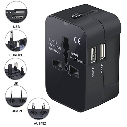Iseason Worldwide Travel Adapter,Universal All in One Worldwide Travel Power Plug Wall AC Adapter Charger with Dual USB Charging Ports for USA/EU/UK/AUS-Black