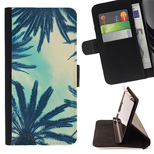 DEVIL CASE - FOR Samsung Galaxy S4 Mini i9190 - Palm Trees Sky View Blue Clouds - Style PU Leather Case Wallet Flip Stand Flap Closure Cover (Samsung S4 Mini Palm Tree Cases compare prices)
