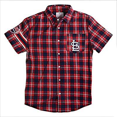 KLEW MLB St. Louis Cardinals Wordmark Flannel Short Sleeve Button-Up Shirt