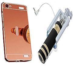 Novo Style Back Cover Case with Bumper Frame Case for Vivo V1 Rose Gold + Wired Selfie Stick No Battery Charging Premium Sturdy Design Best Pocket SizedSelfie Stick