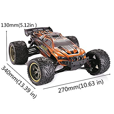 HOSIM Hobby Grade RC Car, All Terrain 33+MPH 1/12 Scale Off Road Full Proportional Radio Controlled Electric Semi-Waterproof Monster 2WD Monster Truggy - Best Christmas Gift for Kids (Orange)