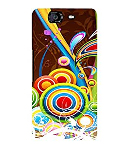 Multicolor Circular Pattern Cute Fashion 3D Hard Polycarbonate Designer Back Case Cover for Micromax Canvas Knight A350 :: Micromax A350 Canvas Knight