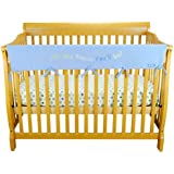 Trend Lab Fleece Dr. Seuss CribWrap Wide Rail Cover for Crib Front or Back, Blue Oh! the Places You'll Go!