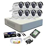 HIKVISION 8CH-DS-7108HGHI-E1-Turbo-MINI DVR + HIKVISION DS-2CE16C2T-IRP TURBO BULLET CAMERA 8pcs + 1TB WD HDD + CABLE 3+1 COPPER + POWER SUPPLY (FULL COMBO)